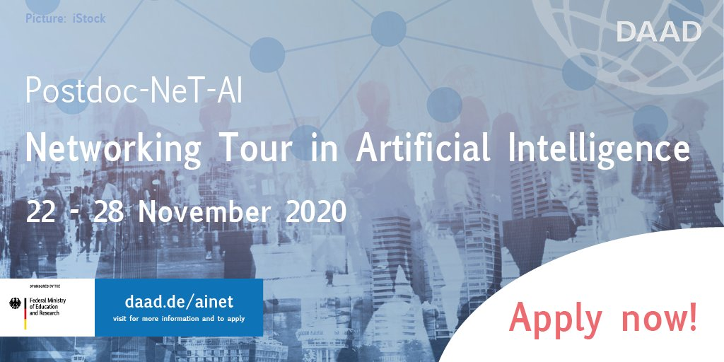 Applynow for our#PostdocNetworkingTourin#AI! Get in touch with likeminded researchers and visit the top research institutions travelling throughout Germany.  Deadline: August 16th!#ArtificialIntelligence ➡️https://t.co/Io6fTDBW3O https://t.co/aBhPJyTsxI