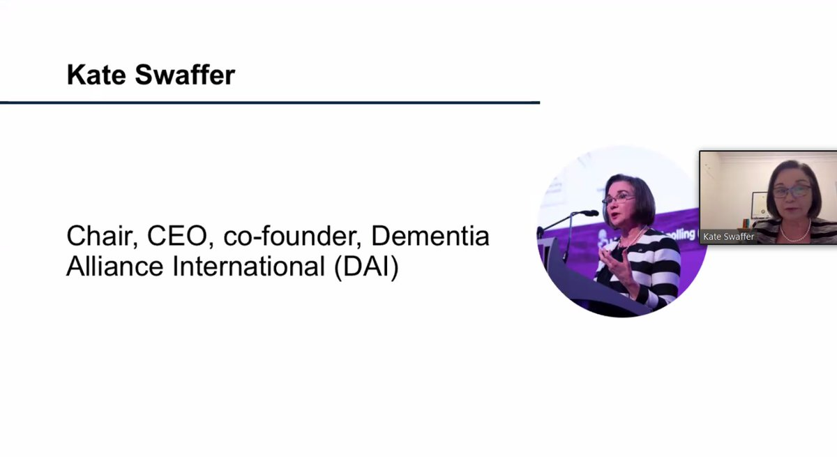 ".@KateSwaffer, Chair and co-founder of @DementiaAllianc provides opening remarks to our Virtual Event, saying: ""People with #dementia are used to facing physical and social distancing, systemic discrimination and stigma, and carers lack support services."" https://t.co/vUbsouB8Na"