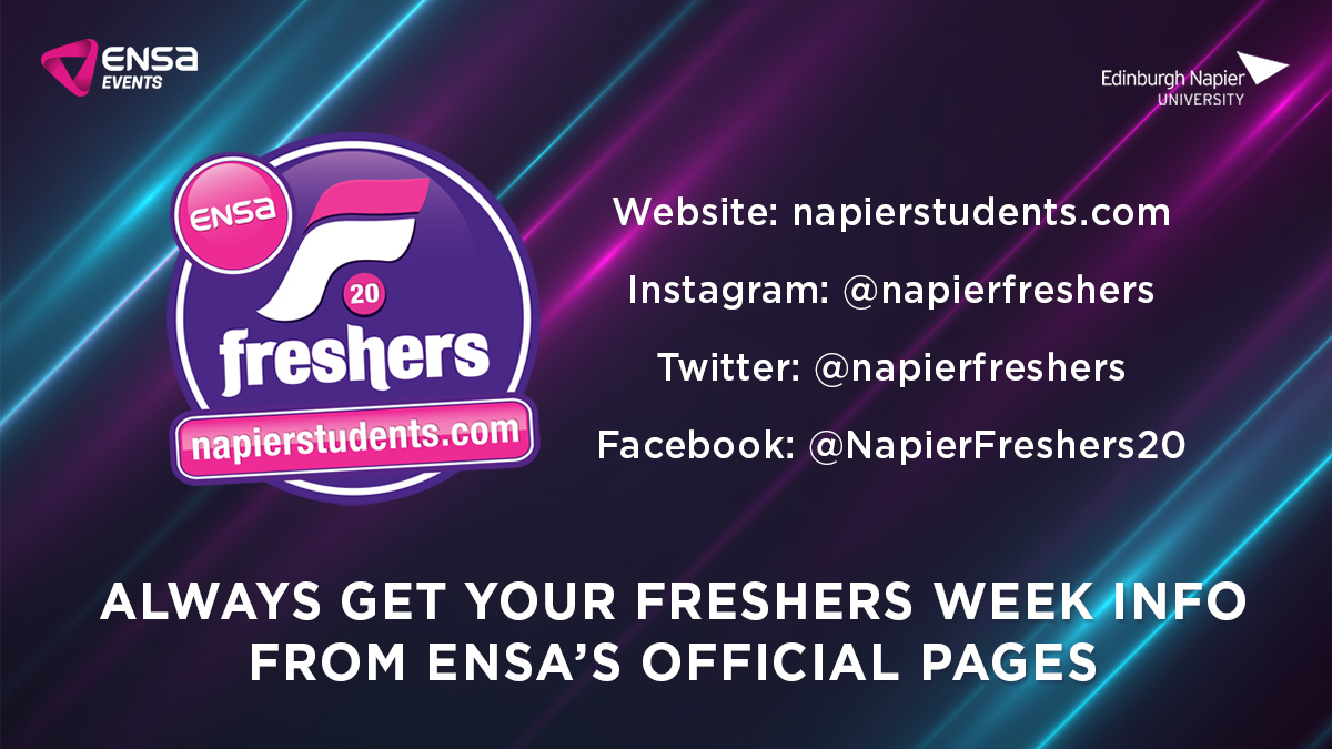 Unfortunately due to Covid-19 there's still a lot of uncertainty about what sort of Freshers Week we'll be able to provide for you all this year. To stay up-to-date with the latest info, make sure you follow our official pages! @NapierFreshers https://t.co/fO4kE6oQpD