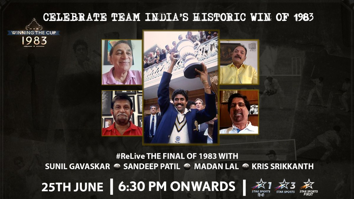 Come and watch along with us and relive the historic moment in Indian cricket! #1983worldcup https://t.co/kgnayBqAd2