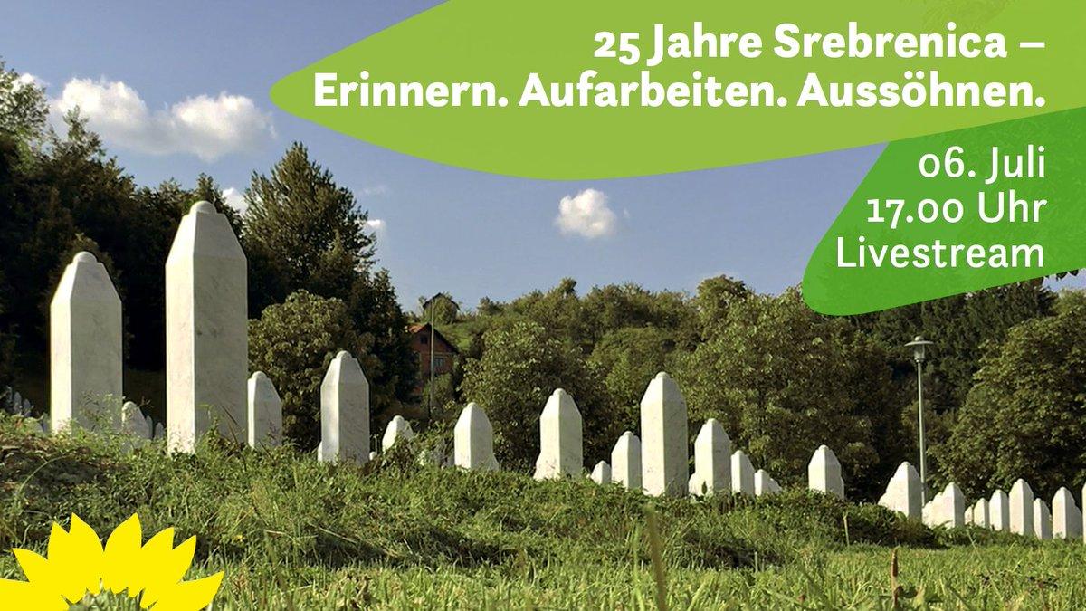 25 Jahre sind seit dem #Srebrenica-Genozid vergangen – dieses Verbrechen darf nicht vergessen werden.  Am 06. Juli gedenken Claudia Roth, @ManuelSarrazin, @MargareteBause & @ABaerbock der Opfer & lassen Menschen zu Wort kommen, die sich für Gerechtigkeit & Aussöhnung einsetzen. https://t.co/1f3z0PPO49