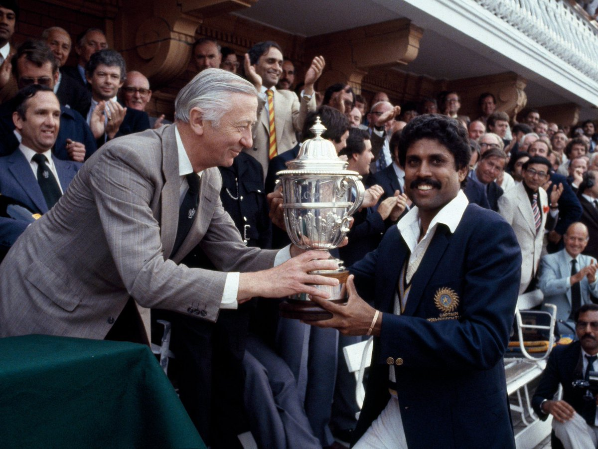 History was created On This Day in 1983,  That changed indian Cricket forever  #TeamIndia led by @therealkapildev won the World Cup🏆 after beating the mighty West Indies  #WinningTheCup83 🇮🇳  🙏🙏🙏💪 #1983worldcup https://t.co/Vnck5HQxpN