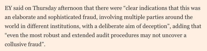 """EY defends its performance as auditor to Wirecard, saying """"even the most robust and extended audit procedures may not uncover a collusive fraud"""".  In this case, a call to the banks where the missing €1.9bn was purportedly held would have done the trick.  https://t.co/nPXehNMAMB https://t.co/lGcspQ0tsF"""