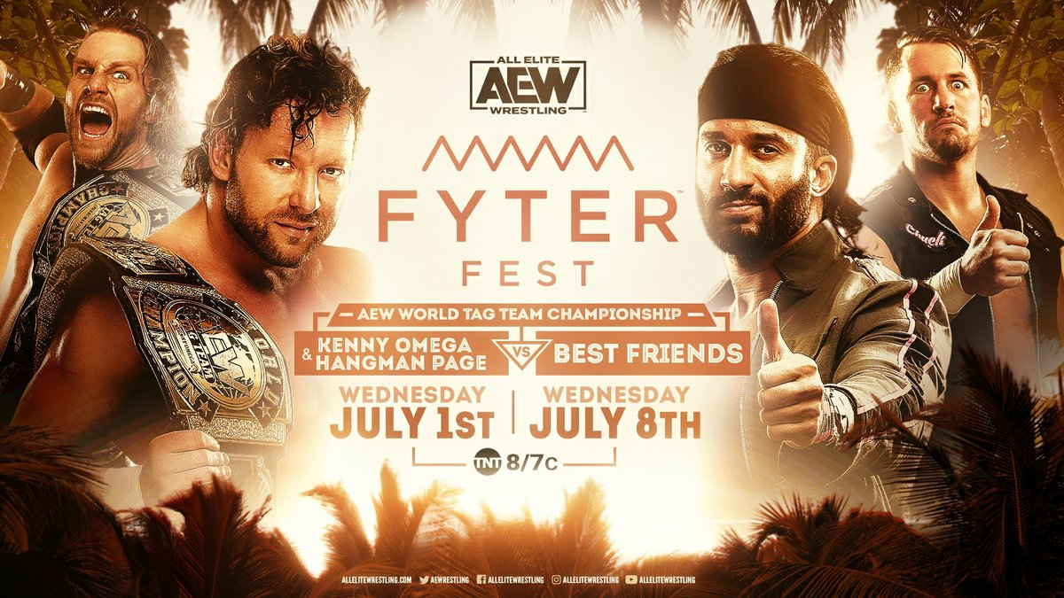 The #AEW World Tag Team Championships are on the line as the champions #Hangman Adam Page & @KennyOmegamanX face the challengers #BestFriends at #FyterFest! Watch night one of #FyterFest for FREE on Wednesday, July 1st at 8e7c on @TNTDrama.