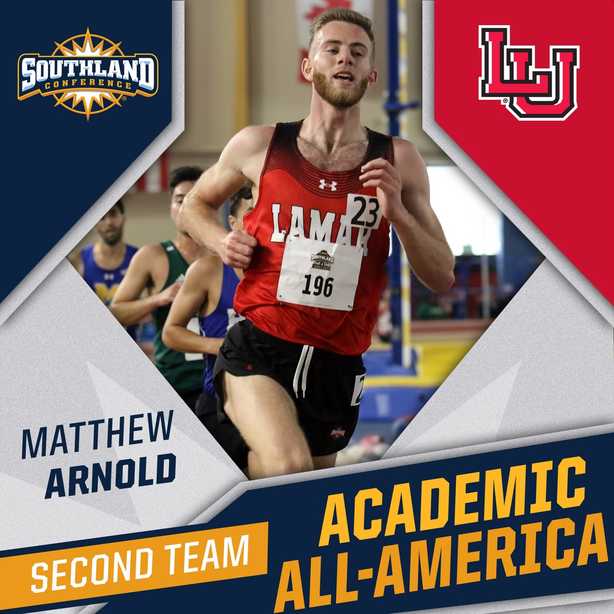 .@LamarTandF's Matthew Arnold earns @CoSIDAAcadAA Second Team XC/T&F Academic All-America honors❗️  Arnold completed the 2019-20 school year with 4⃣ top-five finishes to go along with a perfect 4⃣.0⃣ GPA as graduate English major. #WeAreLU #SouthlandStrong https://t.co/TknblE9C61