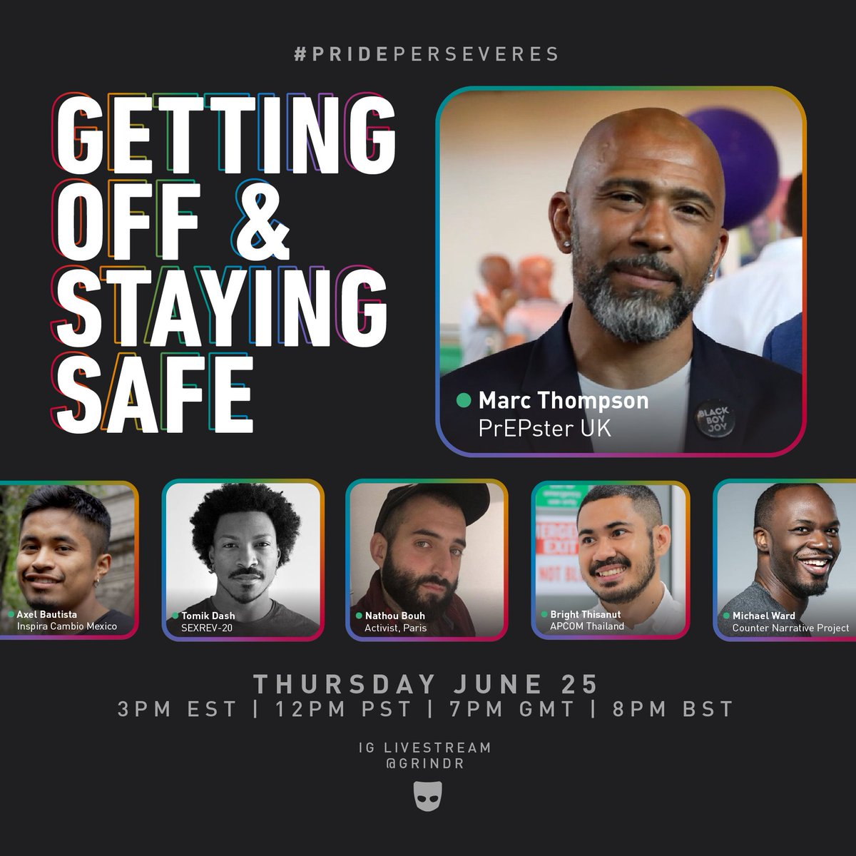 TODAY @ 3PM ET   12PM PT— getting off & staying safe 💥 join @marct_01 from @TeamPrepster for a panel about sexual health, PrEP, U=U, and what safe sex means in different parts of the world 🌎 watch LIVE on our insta: https://t.co/nyi85JyWGC #PridePerseveres https://t.co/h8yITSkDgR