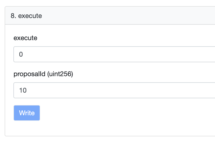 Once 2 days have elapsed, you can Execute the proposal. The input takes an amount of Ether to send (0), and the Proposal ID, e.g. 10 again. This will activate the Proposal, and upgrade the Compound protocol 📈