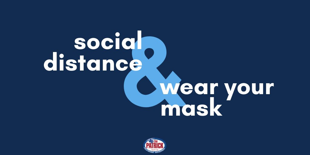 #COVID19 is still with us & we must #stopthespread. Texans—it is up to all of us to do our part to protect ourselves & others. Please remember to stay six-feet apart & wear a mask in public. For ongoing updates in Texas, visit: bit.ly/2VuoUft #txlege