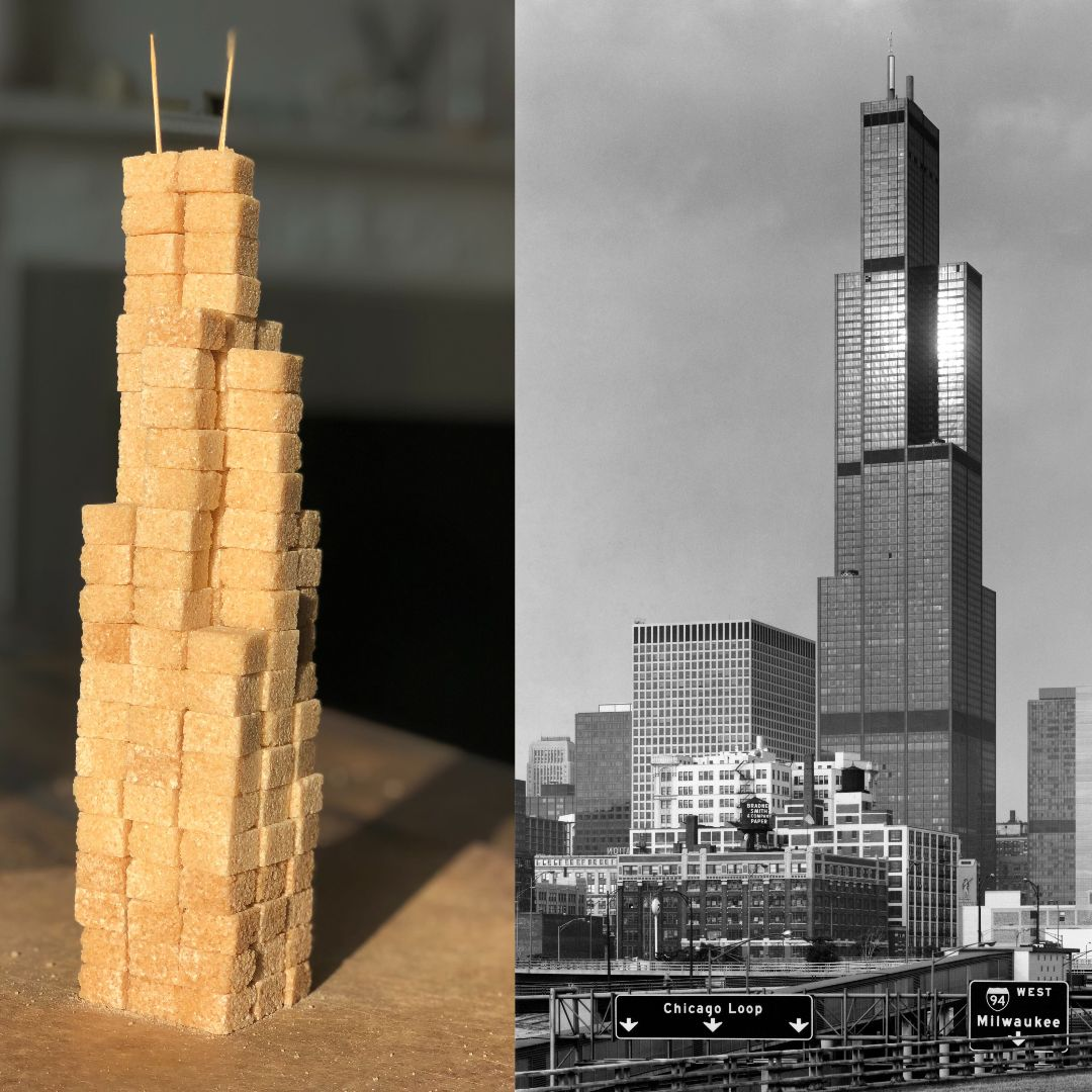 Have you done the (Re)Construction challenge yet at home? | Dont forget to share your structures with the Design Museum and @SOM_Design using #DesignFromHome. fal.cn/38Onl How about this for inspiration? ▶️ Chicagos Willis Tower made from sugar cubes!