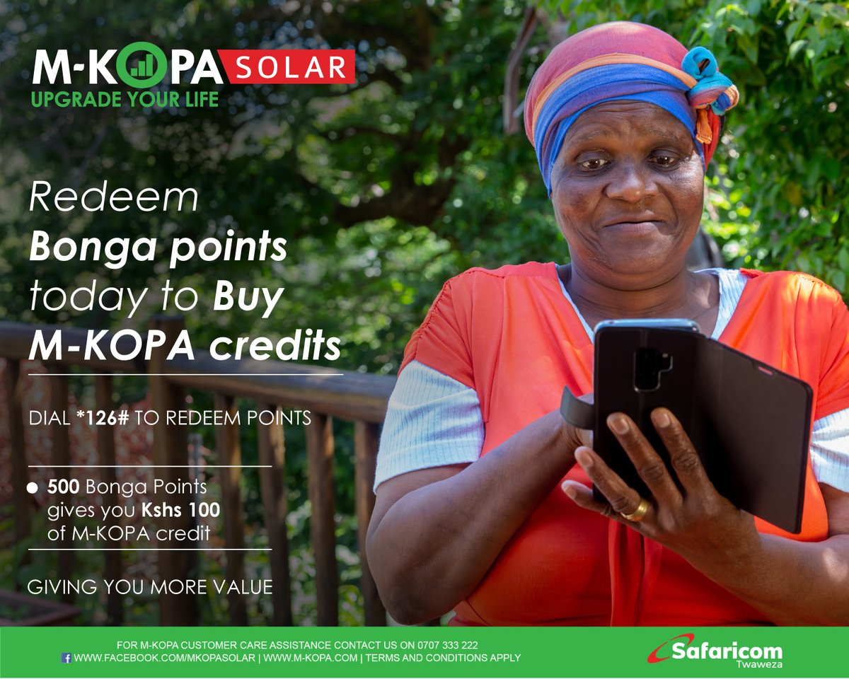 Do not let your relatives upcountry struggle in the dark when they run out of credits. Simply redeem your Bonga points today to buy them M-KOPA credits by dialing *126# today. See more here: https://t.co/Wrkp5ZOSJZ #UpgradingLives #StaySafe https://t.co/uVuEPZGoVC