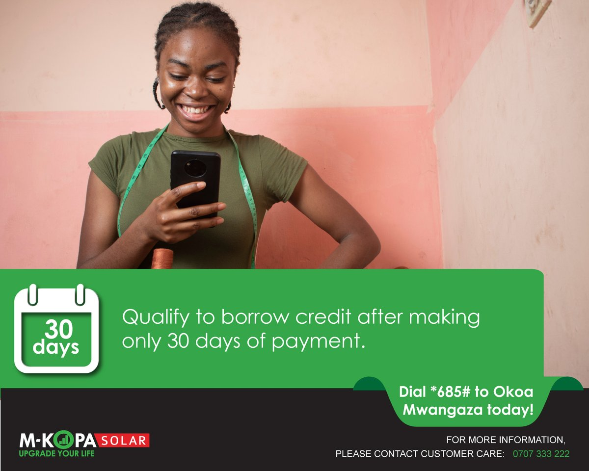 Did you know that M-KOPA customers can now qualify to borrow credit after making only 30 days of payment. Simply dial *685# to receive a lighting loan. See more here: https://t.co/Wrkp606tBx #OKOAMwangaza #StaySafe https://t.co/Dkl3LgHfZO