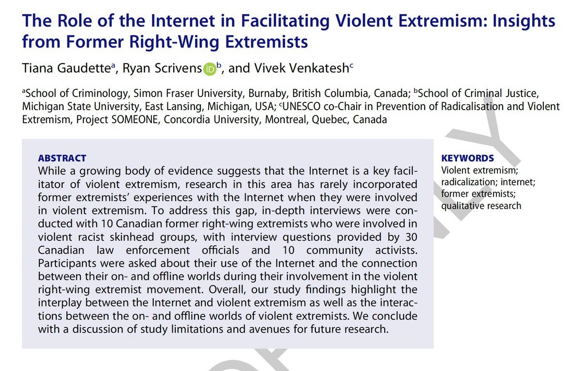 Very interesting study coming out soon in @terpolv on a highly relevant and important topic by criminologist @R_Scrivens. We look forward to reading first-hand accounts on the role of the internet in facilitating violent extremism.