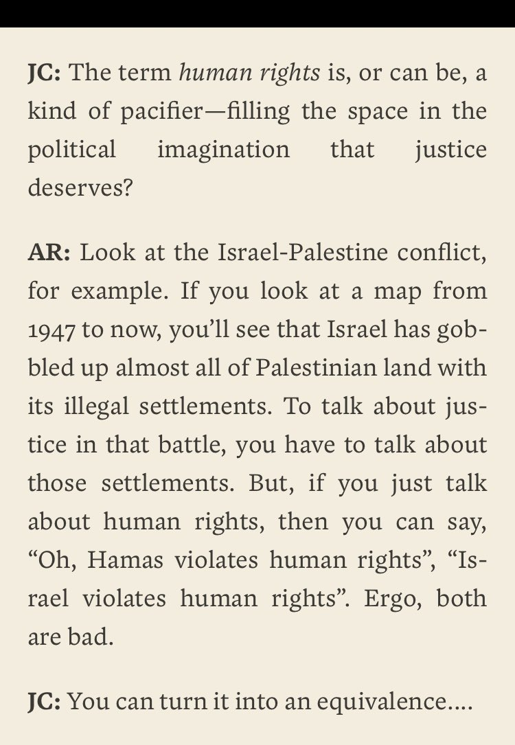 Arundhati Roy and John Cusack on why justice, not human rights, needs to be central to the discussion on Palestine.
