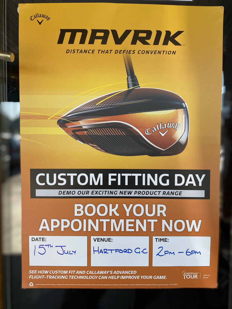 Coming up soon....fitting days are back @CallawayGolfEU first up with an event on 15/7/20 2-6pm with  expert club fitter Craig. Free custom fitting slots available get in touch to book....#Mavrik #Apex #AIdesign #Callway #odyssey ⛳️ https://t.co/7KTzGXMWhv
