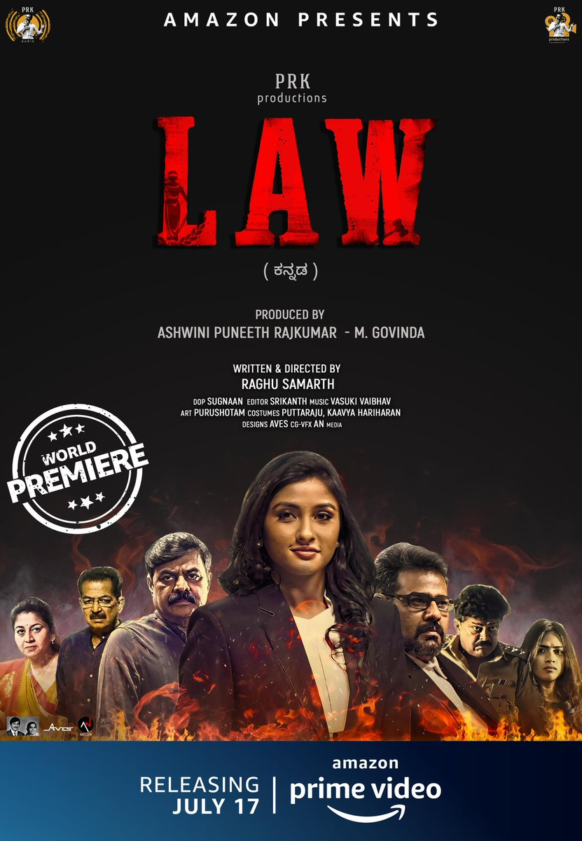 The facts will be witnessed on a new date, #LawOnPrime will premiere on July 17, 2020, on @PrimeVideoIN  @raginichandran #MukhyamantriChandru #AshwiniPuneethRajkumar #MGovinda #RaghuSamarth @vasukivaibhav #SiriPrahlad @PRK_Productions #PRKAudio