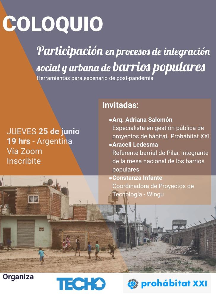 👥¿Cómo mejoran los procesos de integración socio urbana con la participación comunitaria? Sumate a esta conversación hoy a las 19hs 💻  👉Inscribte acá: https://t.co/uoIxAMPDvH https://t.co/SY0tywD36v