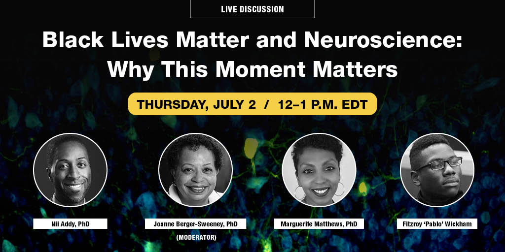 """Although there have been gains in the percentage of underrepresented neuroscience researchers in recent years, there's still more work to be done. Join the discussion at, """"Black Lives Matter & Neuroscience: Why This Moment Matters."""" on July 2 at noon EDT https://t.co/X9Xu4yIQwj https://t.co/bOiLLSasSh"""
