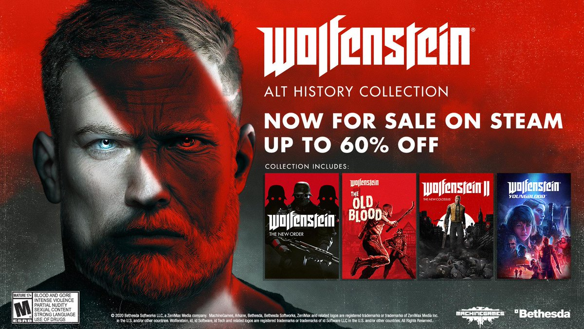 Theyre rewriting history. But they forgot about me. Experience the story of BJ Blazkowicz across all four of @machinegames #Wolfenstein titles with the Wolfenstein: Alt History Collection, now available on Steam and coming to PS4 and XB1 on 6/30.