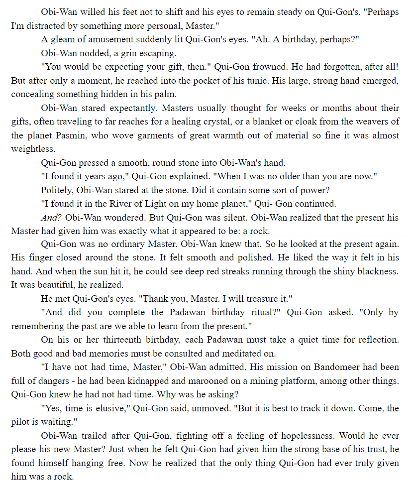 """""""Now he realized that the only thing Qui-Gon had ever truly given him was a rock.""""  Jedi Apprentice: The Hidden Past by Jude Watson #BookQuoteoftheDay #ObiWanKenobi #QuiGonJinn <br>http://pic.twitter.com/OvmKc24uqR"""