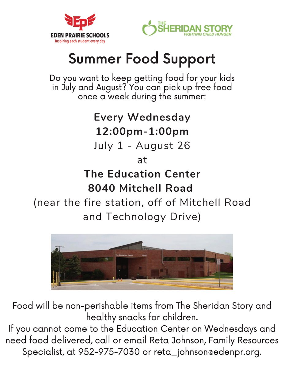 Summer food support is available every Wednesday from July 1 - August 26 at the Education Center in partnership with @SheridanStory #community