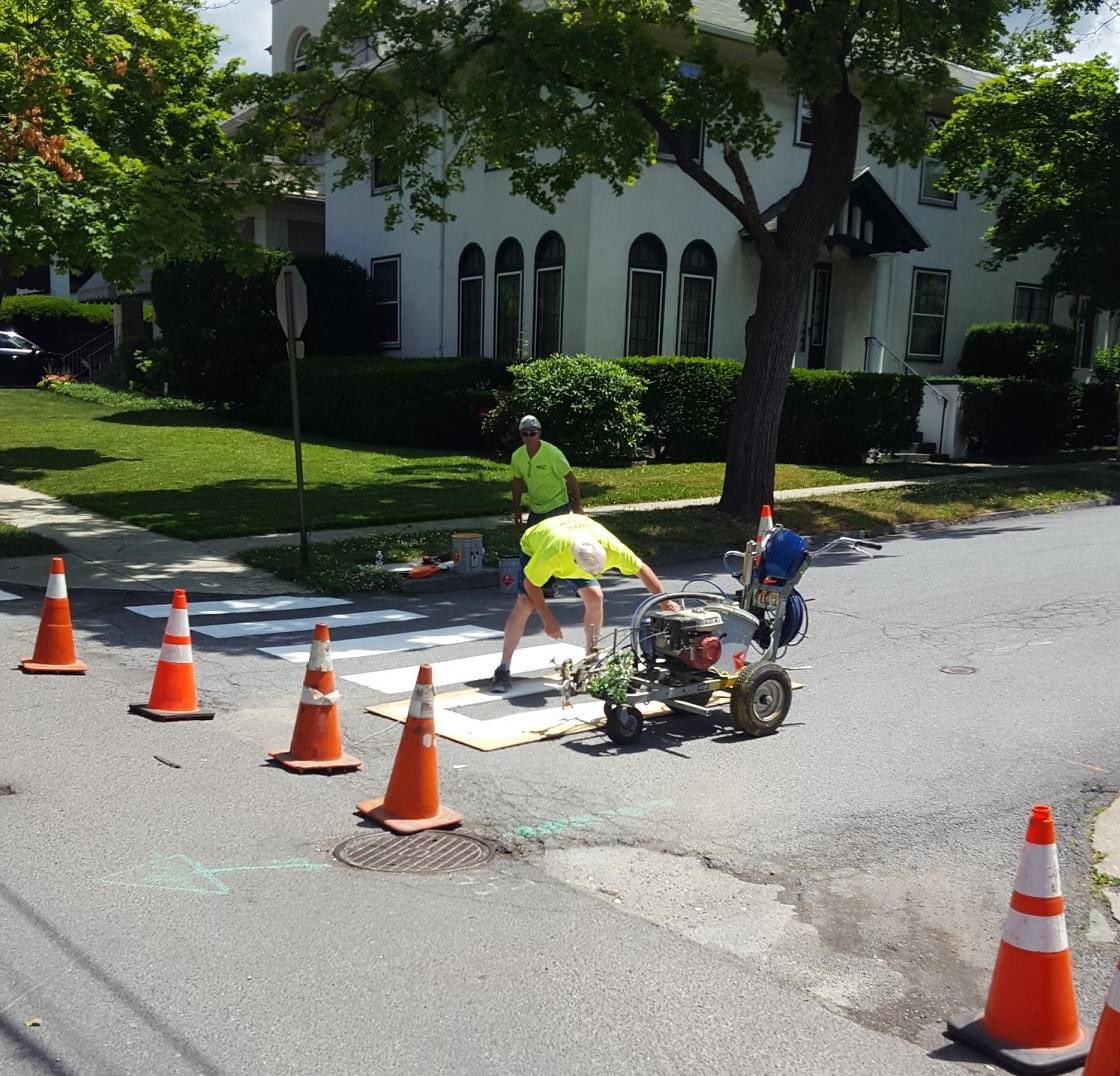 Some of our streets will receive a fresh coat of paint this summer!  The Department of Public Works has crews out repainting crosswalks.  Please remember to drive safely. Slow down, yield, and be prepared to stop when approaching pedestrians or work crews. https://t.co/DA0PBl1mmR