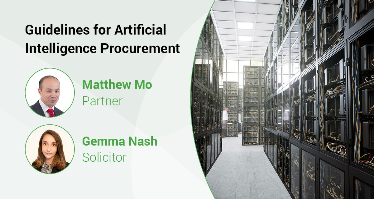 Considering AI? Matthew Mo & Gemma Nash outline the UK Government's Guidelines for Artificial Intelligence procurement.  https://t.co/KHq8DEy5rb  #AI #procurement https://t.co/4O0NNZ8DUw