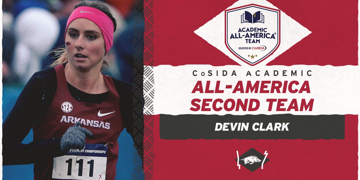 Congrats to 𝐃𝐞𝐯𝐢𝐧 𝐂𝐥𝐚𝐫𝐤 on being named to @CoSIDAAcadAA Academic All-America Second Team.  A total of 28 members of the Razorback women's program have earned 40 CoSIDA Academic All-America honors.  https://t.co/mYakpFiZ3X https://t.co/KuMBxrPYcy