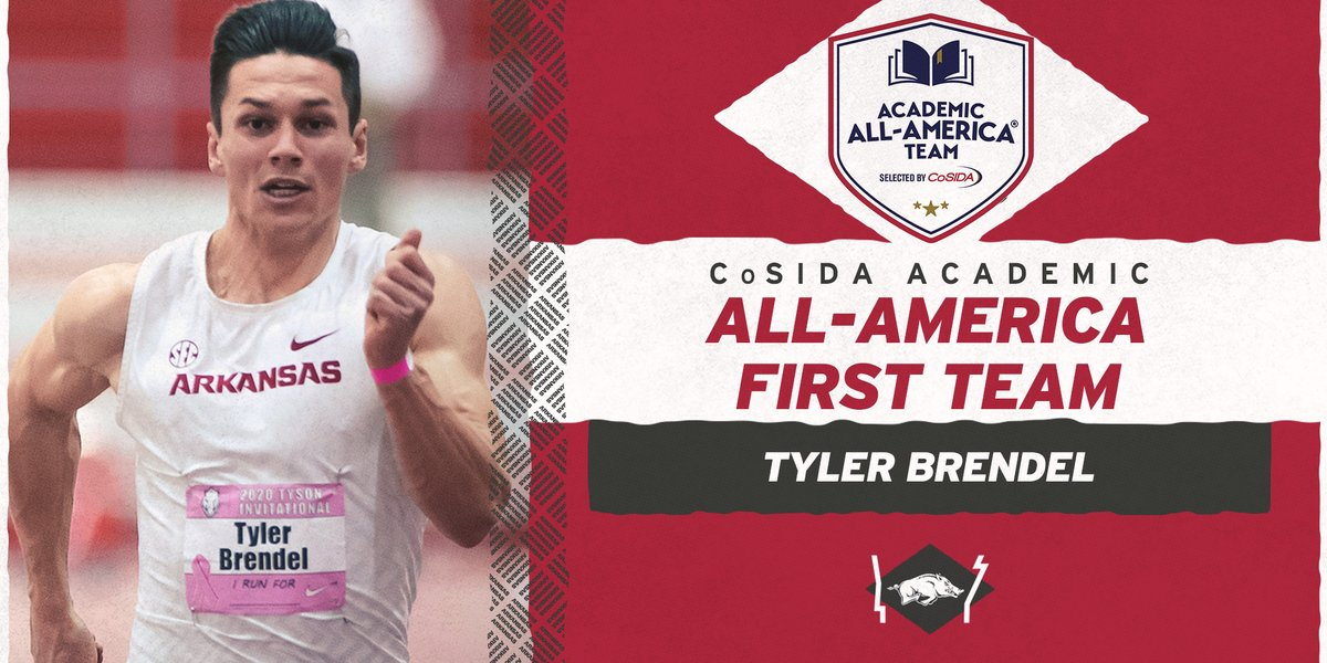 Congrats to 𝐓𝐲𝐥𝐞𝐫 𝐁𝐫𝐞𝐧𝐝𝐞𝐥 on being named @CoSIDAAcadAA Academic All-America First Team.  Brendel earns ninth first team distinction among 17 CoSIDA Academic All-America honors for the Razorback men's program.  https://t.co/7LJWcFs2di https://t.co/OO5XoUuRTz