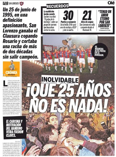Se cumplen 25 años de #SanLorenzo campeón en el #Clausura95 y en @DiarioOle le dedicamos una doble página para recordarlo. Además, algunos amigos como @manusovichdam, Pancho Rivadero y Roly Escudero ayudaron a meterse en la intimidad de aquel grupo...  https://t.co/g5y1vtfXiB https://t.co/n3DMeaEQvL