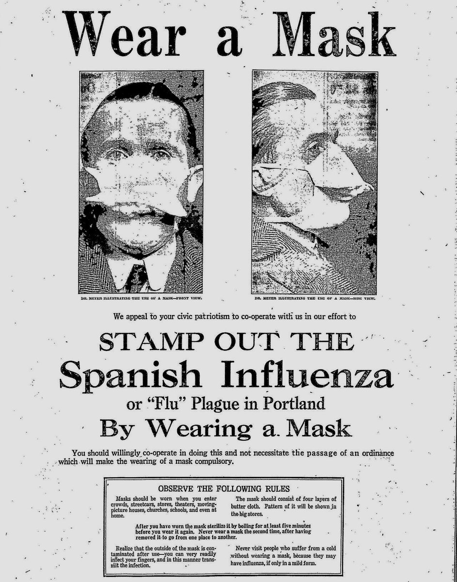 """""""Wear a Mask,"""" says Portland, Oregon, during the 1918-1919 influenza pandemic: https://t.co/orr3dBbmul"""