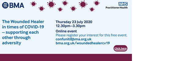 Join @NHSPracHealth and @TheBMA at our joint online conference on 23rd July. Keynote speakers on: -moral injury -bereavement and loss -post-traumatic stress symptoms -psychological defences -protecting our colleagues bma.org.uk/events/the-wou…