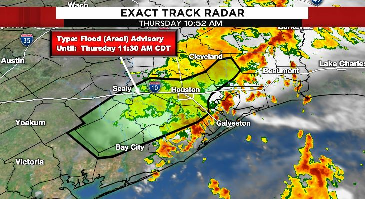 Things are SLOWLY getting better.   Flood Advisory is still in effect through 11:30 am. Langham Creek and Mayde Creek are still out of bank but going down.   Expect improved weather this afternoon with only a few showers.  #go2weather
