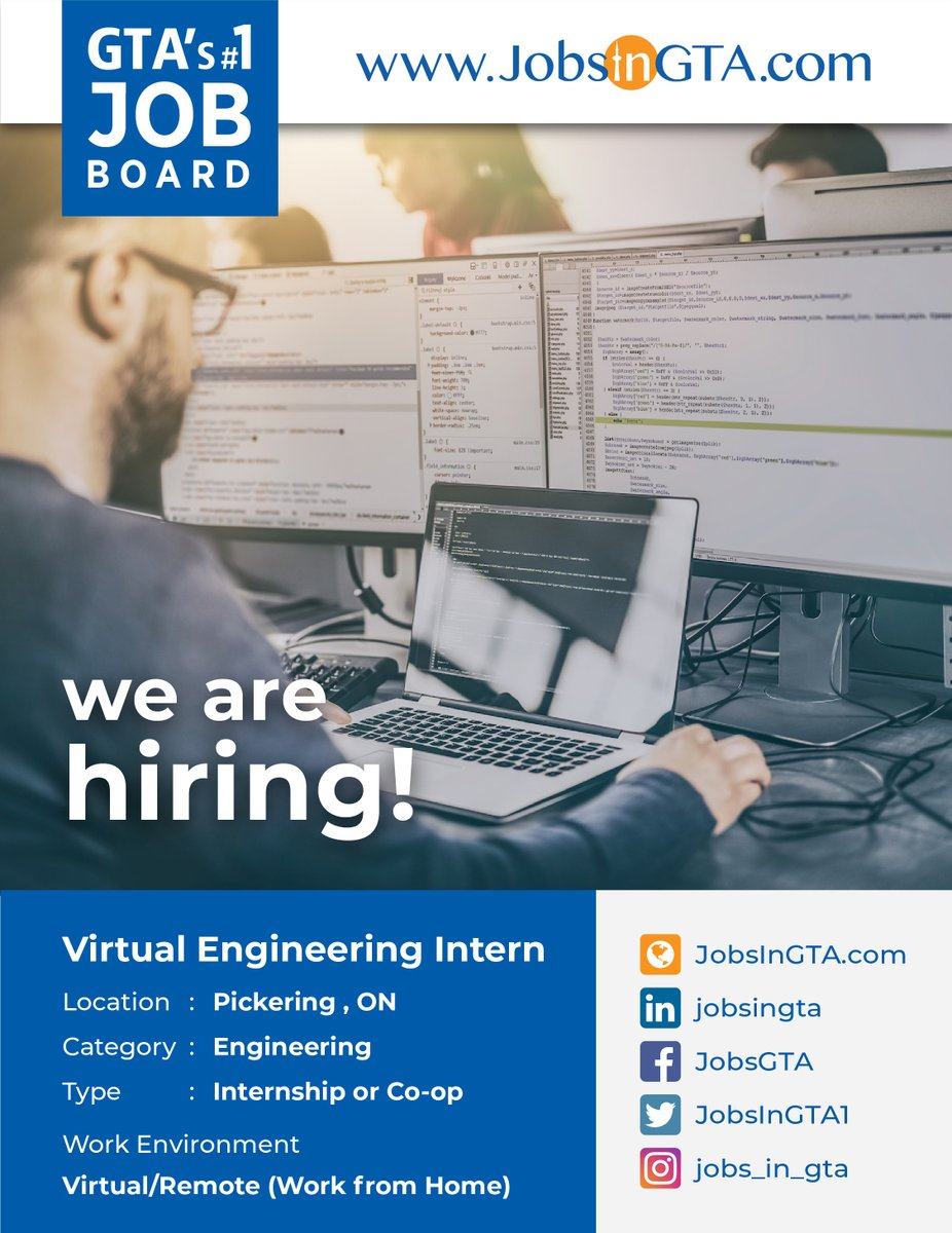 We're hiring ! We're looking for Virtual Engineering Intern  Apply: https://t.co/rQr8WkW4wu  #JobsInGTA #VirtualEngineer #Vacancy #Intern #EngineeringIntern #Hiring #Jobs #TorontoJobs #ThursdayMotivation #Ontario #GTA #Mississauga #Canada https://t.co/0luPscl4H7