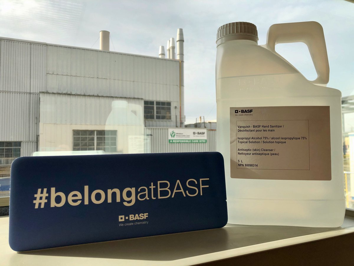 As Canada reopens, #Vanquish, BASF sanitizing product manufactured at our Windsor facility, continues being donated to hospitals and institutions in areas of need, identified in collaboration with the governments of Quebec, Ontario&Alberta #Industryresponds #Chemistryfightscovid https://t.co/tmD0sEYT9x