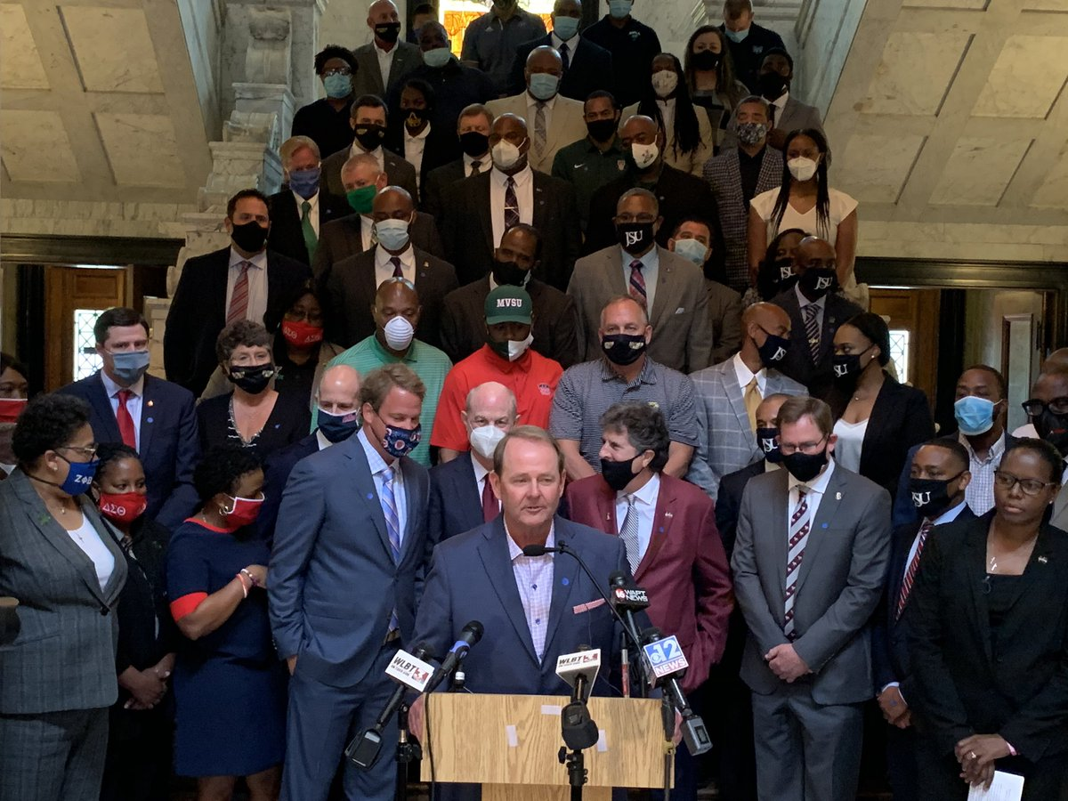 What a picture. All of the college coaches at the State Capitol today.