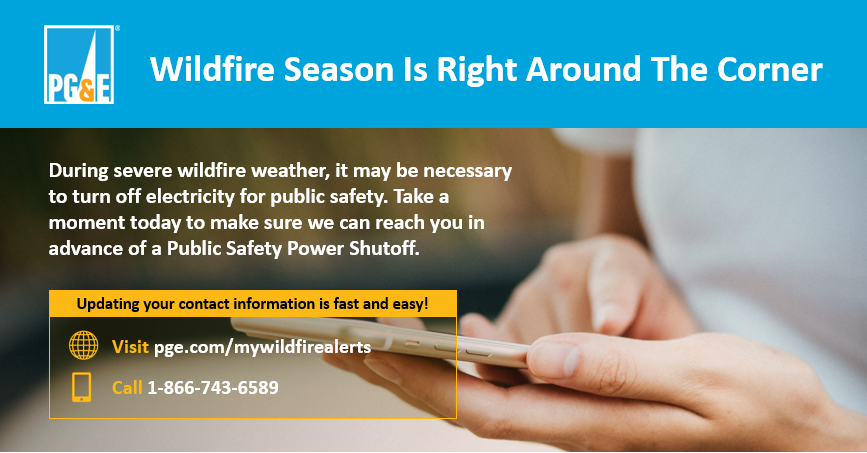 When severe weather and high wildfire risk threaten electric lines, we may need to turn off power for safety. Being notified in advance can help you prepare. Update your contact information, so we can notify you by text, phone or email: https://t.co/ih0yXyvlL7 https://t.co/zgDeLXgD7G