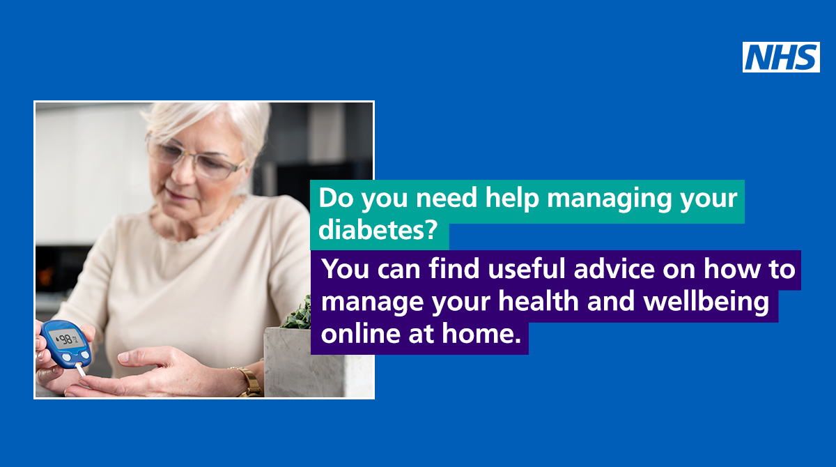 Do you need help managing your diabetes? You can get help from a healthcare professional or access tools online from home. Get the support you need: ▶️nhs.uk/health-at-home #HealthAtHome