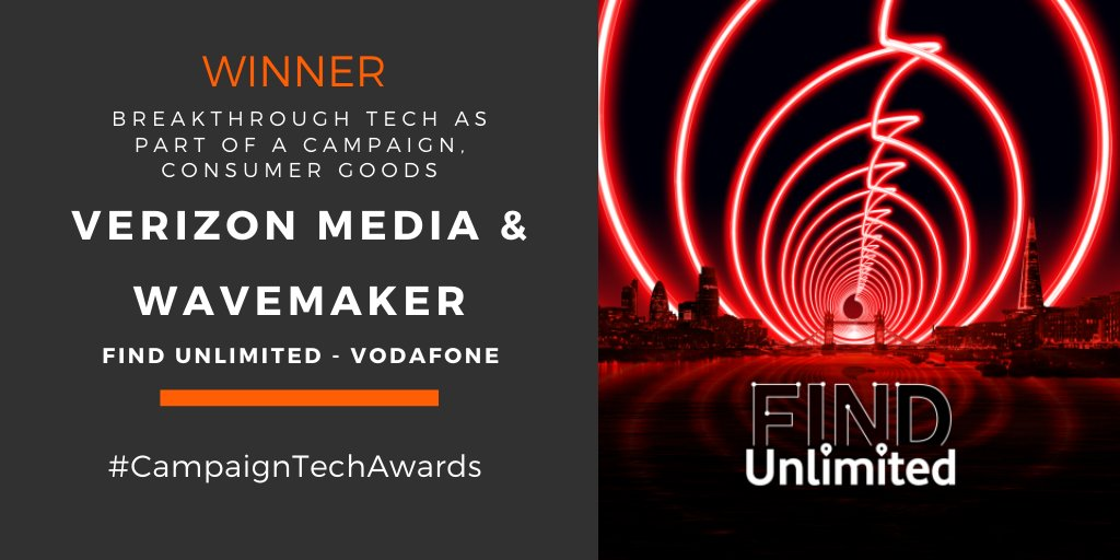 Very pleased to share that #Vatom powered campaign #FindUnlimited by @VerizonMedia_UK & Wavemaker for @VodafoneUK is also a winner in the Breakthrough Tech as Part of a Campaign category. #Vatom rocks! #NFT #AR #MarTech