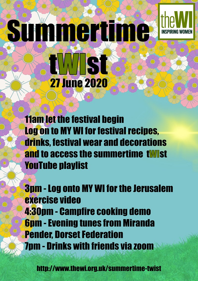 The National WI wants us to find ways of having our own mini-festivals - socially distanced festivals at that - this weekend. What are you planning to do?