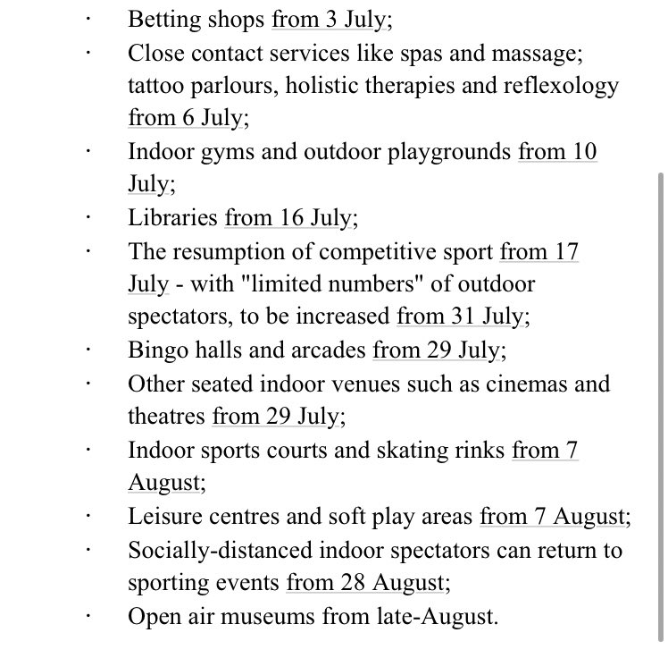 Just to be 100% clear on all those dates just announced by the executive - here they are