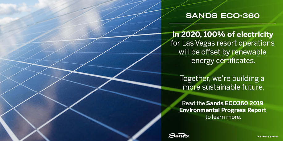 .@LasVegasSands is helping pave the way for a more sustainable future. The Sands ECO360 Environmental Report outlines their plans to eliminate unnecessary products, reuse where they can, replace plastic with proven alternatives, and recycle as much as possible.
