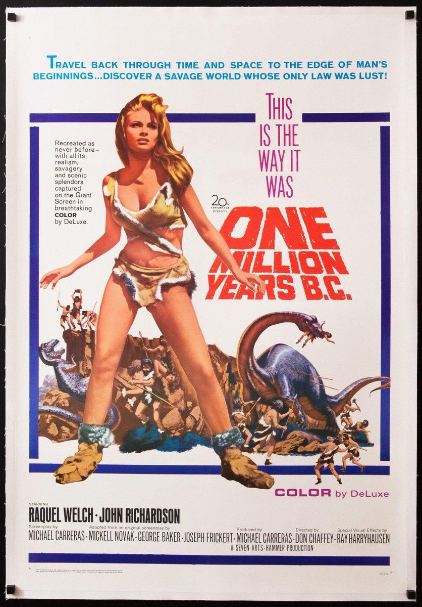 #watched ONE MILLION YEARS B.C. (1966).  The first half hour is a slog, but things get more interesting when Raquel Welch and Ray Harryhausen's #dinosaurs show up.   #stopmotion #RayHarryhausen #furkini<br>http://pic.twitter.com/v1u6VlqjE2
