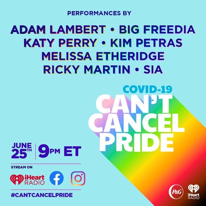 Don't miss performances by @katyperry, @adamlambert, @kimpetras, and more on @iHeartRadio's #CantCancelPride event with @ProcterGamble! The show will raise visibility and funds for LGBTQ+ communities impacted by COVID-19. Tune in TONIGHT at 9 p.m. ET: ihr.fm/CantCancelPride