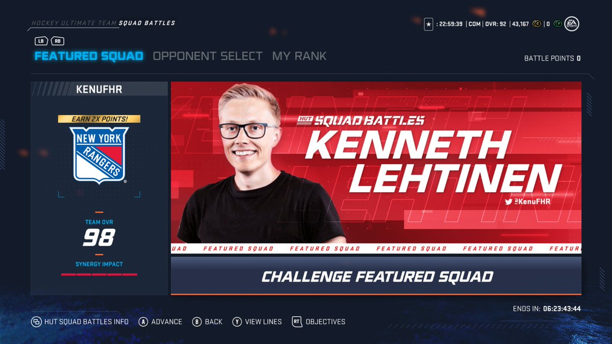Challenge my squad in #NHL20 Squad Battles right now!  As someone who's played the @EASPORTSNHL series for more than 25 years, it's an incredible honor to be featured in the game. ❤️ https://t.co/Nr6y549lsQ