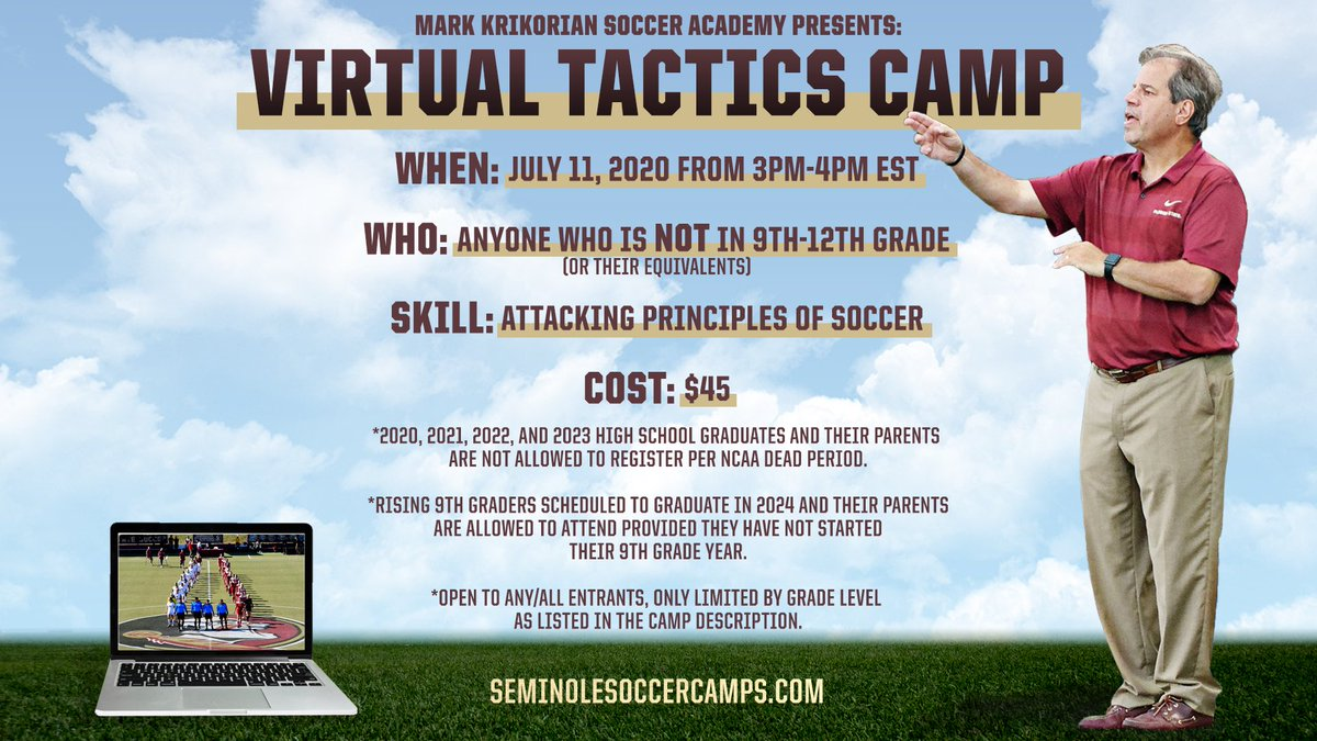 Seminole Soccer camp is coming to you VIRTUALLY! 🎉  🗓 July 11, 2020 ⌚️ 3-4pm EST 💻 via Zoom ⚽️ Attacking Principles of Soccer  REGISTER HERE NOW⤵️ https://t.co/R3maSS5W5t https://t.co/vygZ0yLrxU