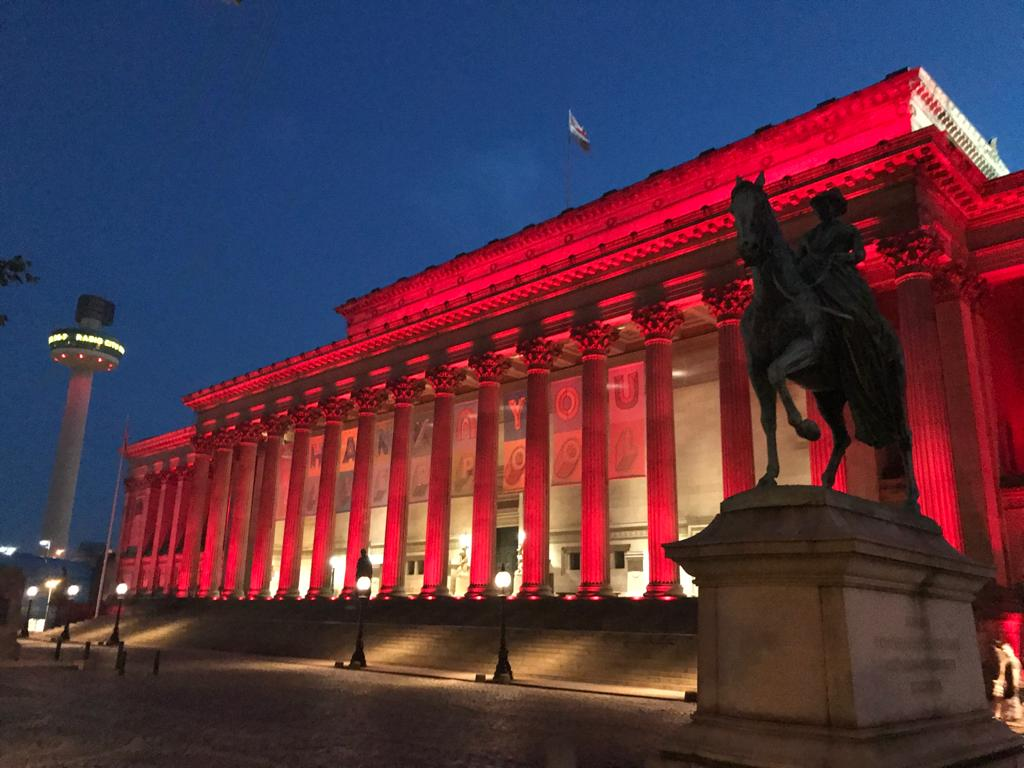 The city celebrates @LFC Premier League Champions as @SGHLpool lights up red.  #LFC #Liverpool https://t.co/5QnCGjesJP
