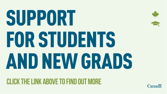 Support for students and new grads. Click on the link above to find out more.