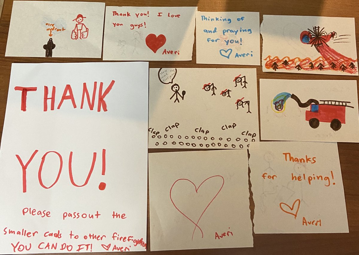Thank you Averi for your wonderful messages of support for our firefighters! #WeLoveOurCommunity