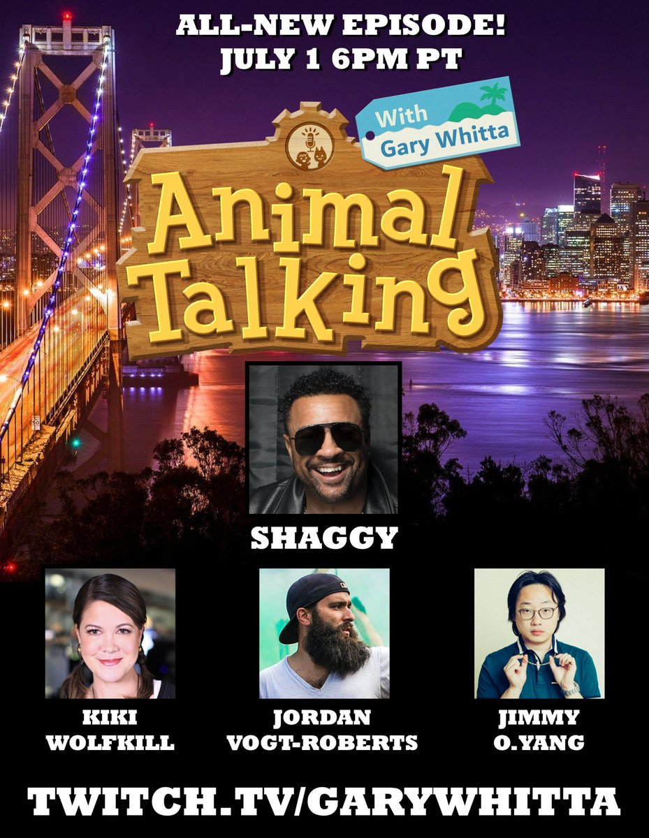"The next episode of Animal Talking is gonna be another banger! Musical guest @DiRealShaggy headlines with a performance of his viral hit, ""Banana""! Plus HALO supremo @k_wolfkill,  director @VogtRoberts, and comedian/actor Jimmy O. Yang! https://t.co/97zpoQBJjL https://t.co/9ZQ9e6zwxF"