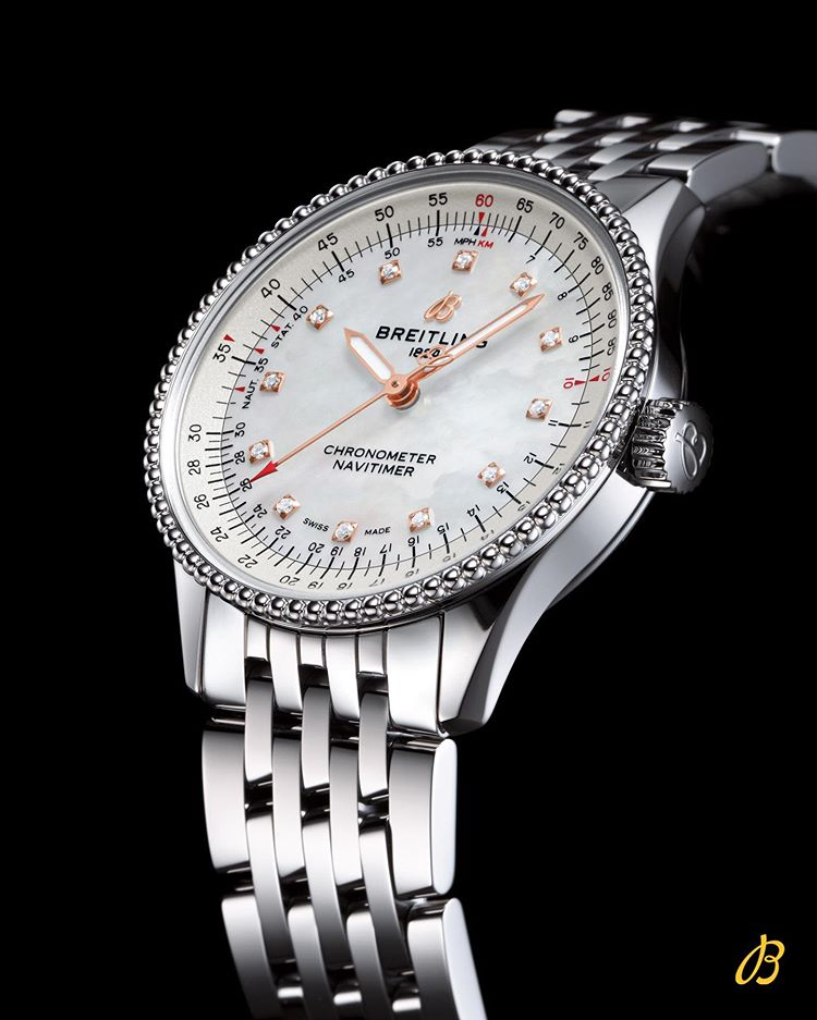 The @Breitling Navitimer Automatic 35 combines the historic appeal of a true icon with the sophistication of a contemporary timepiece. Here the stunning diamond-set white mother-of-pearl version on steel bracelet.  https://t.co/n0e9fv2Dmp #breitling #navitimer https://t.co/tdtWerswTu